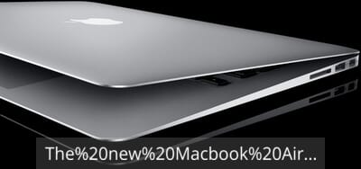 Macbook Air with text overlay